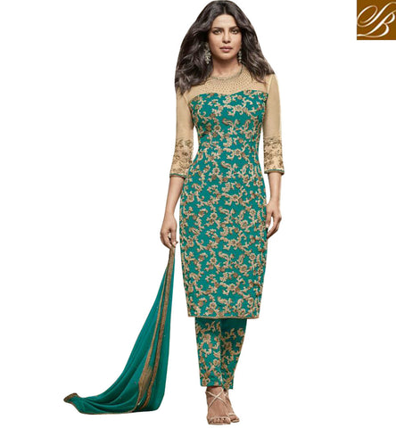 STYLISH BAZAAR SHOP SIZZLING GREEN GEORGETTE PRIYANKA CHOPRA STRAIGHT CUT EMBROIDERED SUIT JNHR5153