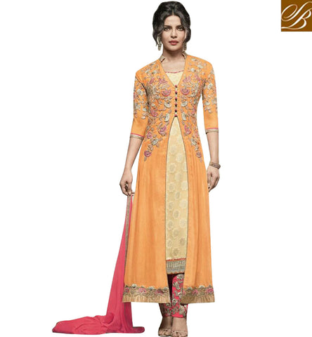 STYLISH BAZAAR SIGNIFICANT MUSTARD AND CREAM GEORGETTE PRIYANKA CHOPRA JACKET STYLE DESIGNER DRESS JNHR5154
