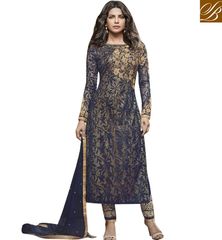 STYLISH BAZAAR STUNNING BLUE NET PRIYANKA CHOPRA WELL EMBROIDERED STRAIGHT CUT PARTY WEAR SUIT JNHR5155