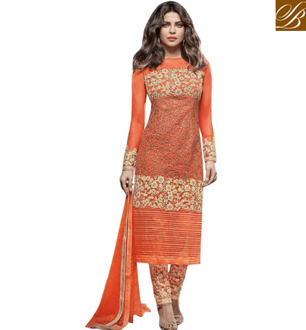 STYLISH BAZAAR ATTRACTIVE ORANGE NET PRIYANKA CHOPRA STRAIGHT CUT DRESS HAVING ENCHANTING EMBROIDERY JNHR5156
