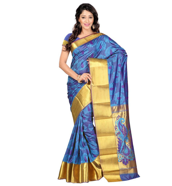 STYLISH BAZAAR KANJIVARAM SILK SARI IN DUAL COLORS OF PASTEL GREEN AND VIOLET- VWJP7101