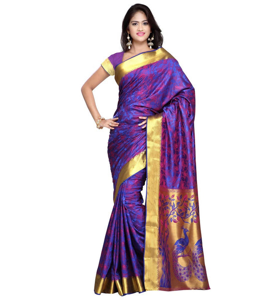 STYLISH BAZAAR KANCHIPURAM SILK PAITHANI THEME PALLU SAREE IN RED AND VIOLET COLORS - VWJP7102