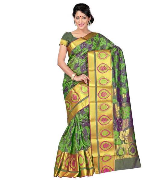 STYLISH BAZAAR SENSATIONAL KANJIVARAM ART SILK SARI AVAILABLE IN RED AND VIOLET COLORS VWJP7103