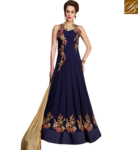 STYLISH BAZAAR Navy blue indo-western gown for Indian women and also NRIs in US & UK KHW10001