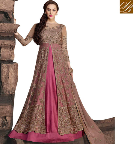 STYLISH BAZAAR Buy dark pink Indian anarkali style front slit design for online shopping KHW10002