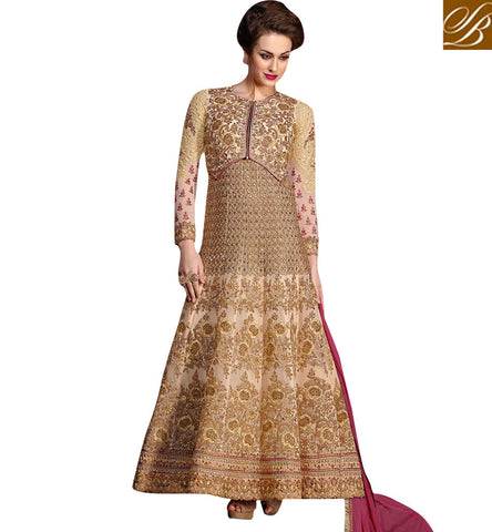 STYLISH BAZAAR Shop special Beige jacket style badla work women anarkali EID dress KHW10003