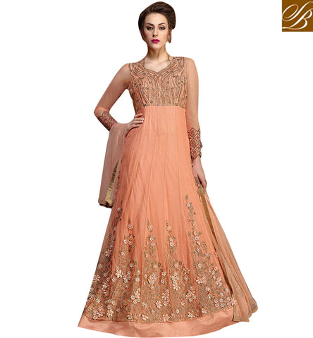 STYLISH BAZAAR Shop Indian EID and reception women outfit trendy 3d flower design gown KHW10004