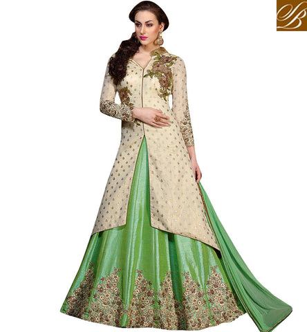 STYLISH BAZAAR Buy White silk embroidered jacket kameez with bottle green sleeveless top KHW10005