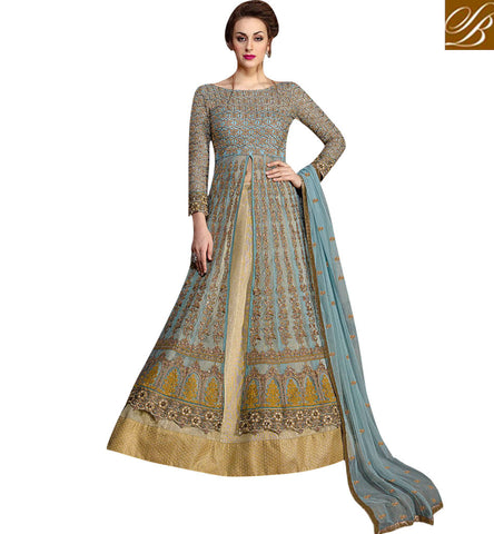 STYLISH BAZAAR Shop grey long embroidered top with beige lehenga latest reception dress KHW10006