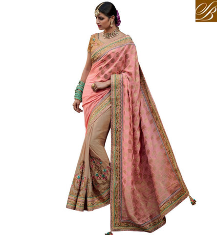 STYLISH BAZAAR BEIGE CREPE SILK AND PEACH JACQUARD SILK DESIGNER HALF N HALF BRIDAL WEAR SAREE KMVSA51