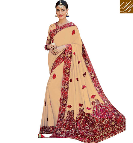STYLISH BAZAAR BEAUTIFUL CREAM CREPE SILK DESIGNER PARTY WEAR RED EMBROIDERED SAREE KMVSA52B