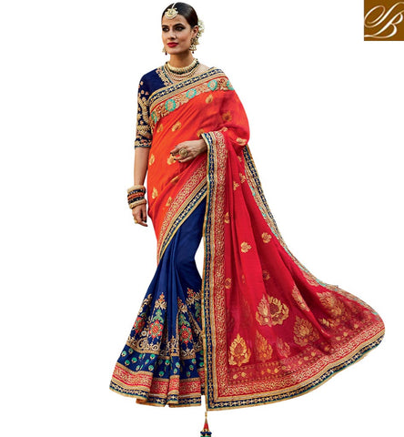 STYLISH BAZAAR AMAZING BLUE TUSSER SILK AND ORANGE JACQUARD DESIGNER BRIDAL WEAR EMBEDDED SAREE KMVSA54