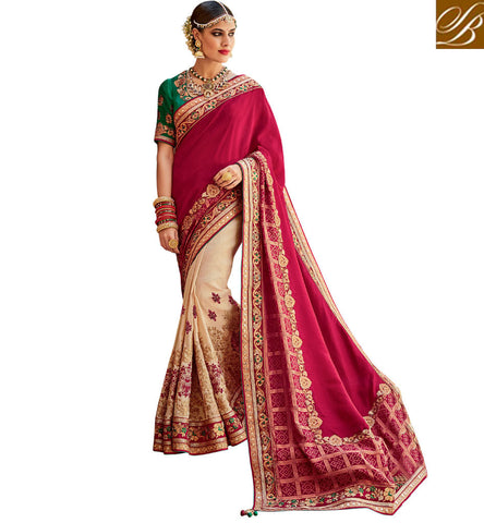 STYLISH BAZAAR ELEGANT CREAM AND MAROON SILK DESIGNER HALF N HALF BRIDAL WEAR WELL DECORATED SAREE KMVSA56