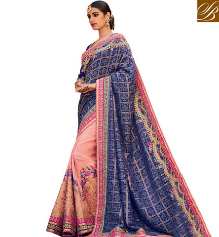 STYLISH BAZAAR ATTRACTIVE PEACH AND BLUE SILK HAVING PLEASANT GLANCE BRIDAL WEAR DESIGNER SAREE KMVSA59