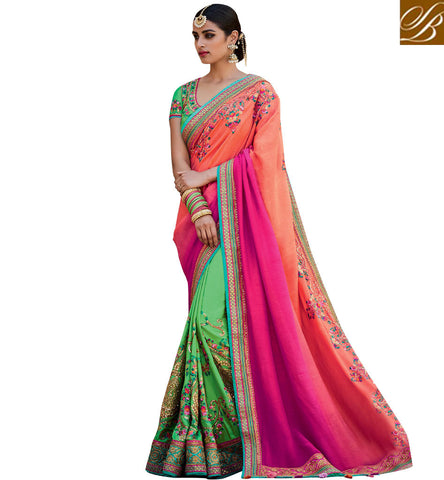 STYLISH BAZAAR EYE CATCHING GREEN AND PEACH PINK SHADED HALF AND HALF LOVELY WORKED PARTY WEAR SAREE KMVSA60