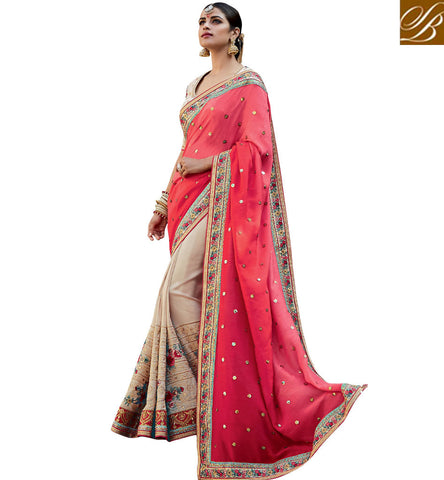 STYLISH BAZAAR STUNNING BEIGE AND PINK TUSSER SILK EMBROIDERED PARTY WEAR WELL DESIGNED SAREE KMVSA61