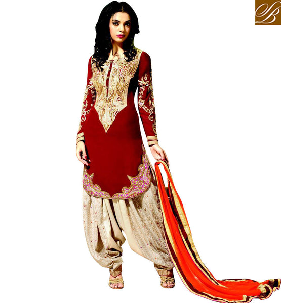 STYLISH BAZAAR BEWITCHING RED EMBROIDERED PAKISTANI STYLE SALWAAR KAMEEZ RMKP008