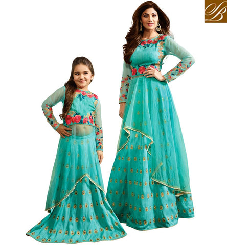 SHILPA SHETTY BABY MOM INDIAN BLUE BOUTIQUE ANARKALI KARMA DRESS