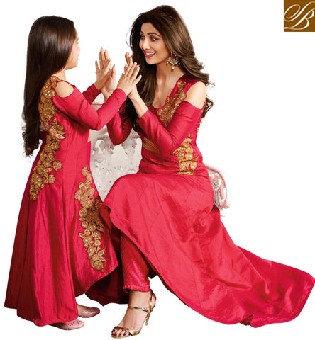 BOOK MOTHER DAUGHTER SHILPA SHETTY DESIGNER BABY PINK OUTFIT