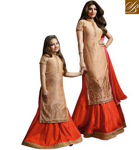 STYLISH BAZAAR BUY SHILPA SHETTY LATEST MOTHER DAUGHTER TEAM OF LATEST PARTY WEAR DESIGNER SALWAAR KAMEEZ ONLINE KRM1585
