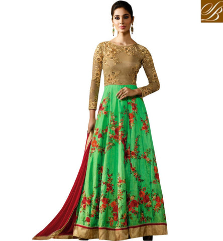 STYLISH BAZAAR STUNNING GREEN AND BEIGE EMBROIDERED SILK HAVING WELL FRORAL WORK PARTY WEAR ANARKALI SUIT KRM8056