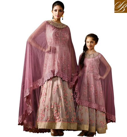 GLAMOROUS LIGHT PURPLE GEORGETTE DESIGNER PARTY WEAR EMBROIDERED ANARKALI SALWAR SUIT KRM8057