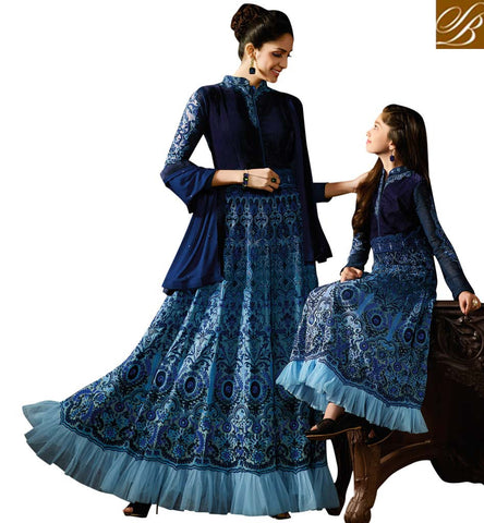 PLEASING BLUE GEORGETTE HAVING BOUNTIFUL LOOK PARTY WEAR GOWN STYLE ANARKALI SUIT KRM8060