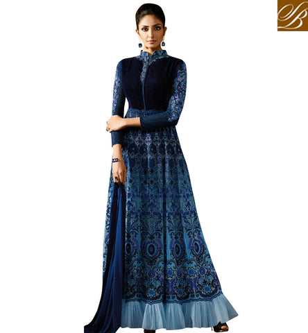 STYLISH BAZAAR PLEASING BLUE GEORGETTE HAVING BOUNTIFUL LOOK PARTY WEAR GOWN STYLE ANARKALI SUIT KRM8060