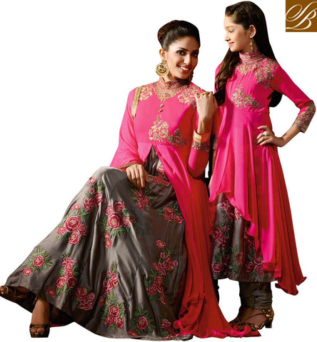 INVITING PINK AND GREY SATIN GEORGETTE DESIGNER ANARKALI SALWAR SUIT HAVING FLORAL WORK KRM8061