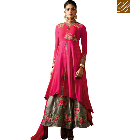 STYLISH BAZAAR INVITING PINK AND GREY SATIN GEORGETTE DESIGNER ANARKALI SALWAR SUIT HAVING FLORAL WORK KRM8061