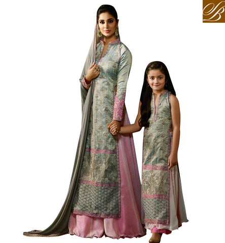 WONDERFUL GREEN SILK AND PINK GEORGETTE DESIGNER HAVING EXOTIC LOOK PARTY SUIT KRM8062