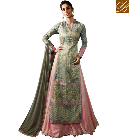 STYLISH BAZAAR WONDERFUL GREEN SILK AND PINK GEORGETTE DESIGNER HAVING EXOTIC LOOK PARTY SUIT KRM8062