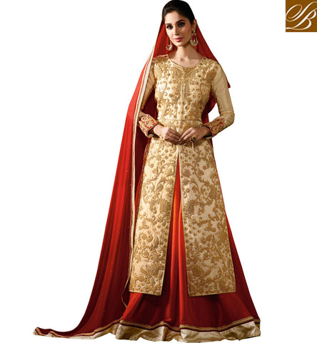 BREATHE TAKING CREAM RAW SILK AND GEORGETTE SILK JACQUARD LEHENGA STYLE SLIT CUT SUIT KRM8063
