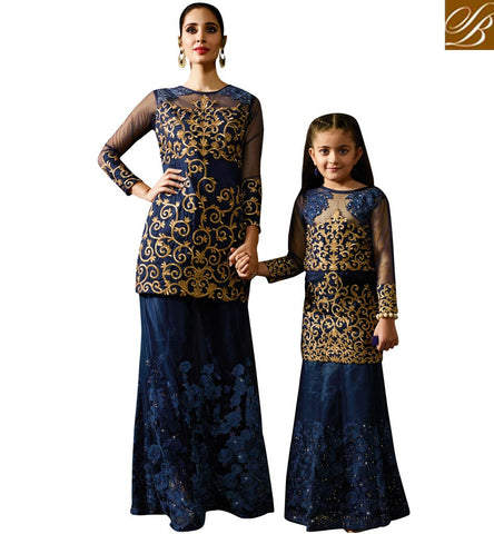 STYLISH BAZAAR PRESENTS MOM AND DAUGHTER MATCHING INDIAN BLUE WOMEN LEHENGA KAMEEZ ONLINE KRM8073