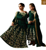 MAA BETI SAME PINCH GREEN LEHENGA SAREE MOTHER DAUGHTER LADIES COLLECTION 2017 IN ONLINE SHOPPING KRM8075