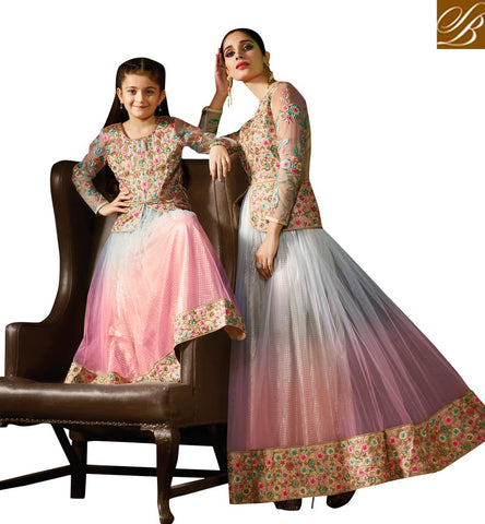 STYLISH BAZAAR PRESENTATION LATEST TRENDY ONLINE MOM-KID DESIGNER INDOWESTERN LEHENGA TOP ESPECIALLY FOR WEDDINGS AND THEME PARTIES KRM8076
