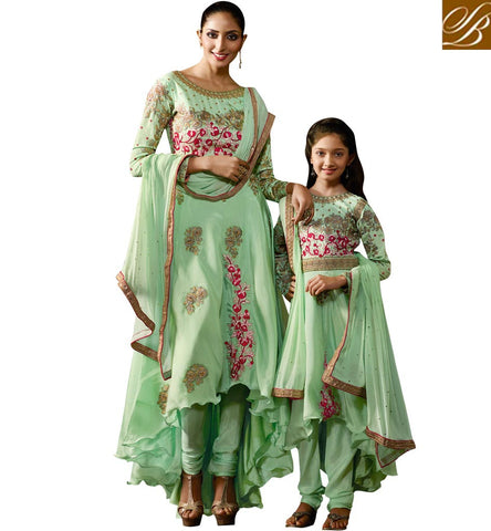 BUY MOTHER DAUGHTER DESIGNER GREEN SALWAR SUITS ONLINE LATEST INDIAN MOM-KID WOMEN CLOTHES COLLECTION KRM8077