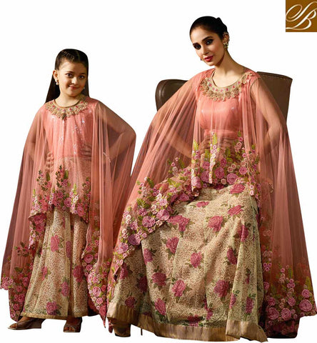 FROM STYLISH BAZAAR SHOP FOR CHARMING MOTHER DAUGHTER PEACH CHANIYA CHOLI LATEST WEDDING WOMEN AND KIDS DRESSES KRM8078