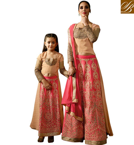 PERFECT MATCH MOMMY AND HER PRINCESS BEIGE AND PINK LEHENGA CHOLI MARRIAGE AND FESTIVAL COLLECTION KRM8080