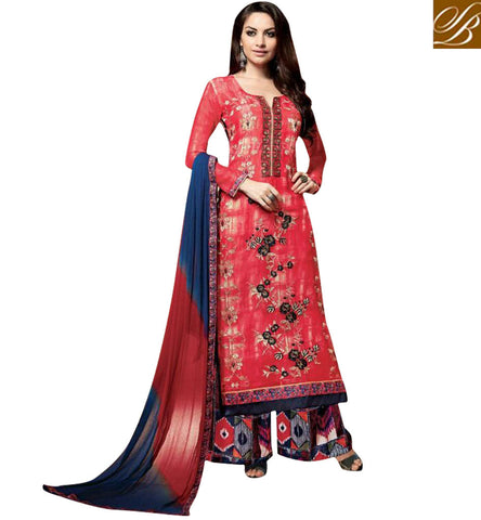 STYLISH BAZAAR BEST CASUAL WEAR RED SALWAAR DRESS SUIT ONLINE LATEST WOMEN ETHNIC CLOTHING 2017 KSMIR1209