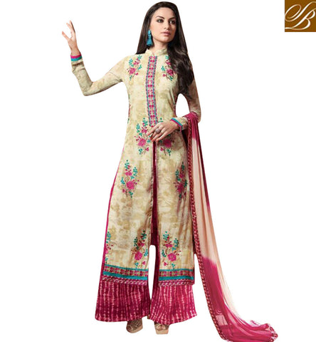 STYLISH BAZAAR BUY GEORGETTE PLAZO STYLE SALWAAR KAMEEZ DRESS SUIT LATEST DESIGNER WOMEN SUIT DESIGNS KSMIR1211