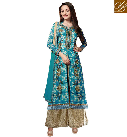 STYLISH BAZAAR BLUE AND BEIGE SEMISTICHED PLAZO STYLE SALWAR SUIT IN GEORGETTE FABRIC LATEST LADIES DRESS  ONLINE KSMIR1212