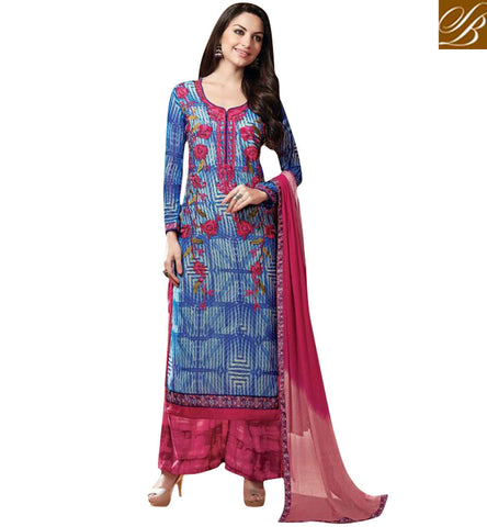 STYLISH BAZAAR STRIKING PINK AND BLUE GEORGETTE SALWAR SUIT SET ONLINE SHOPPING OF TRENDY INDIA SALWAR KSMIR1213