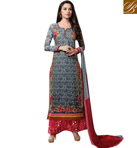 STYLISH BAZAAR STYLISH BAZAAR'S GEORGETTE GREY AND PINK SALWAAR KAMEEZ DESIGNER SUIT ONLINE FOR WOMEN KSMIR1214