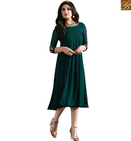 STYLISH BAZAAR GREEN GEORGETTE CASUAL WEAR DESIGNER KURTI WITH BEAUTIFUL LATEST PATTERN MNJ33361
