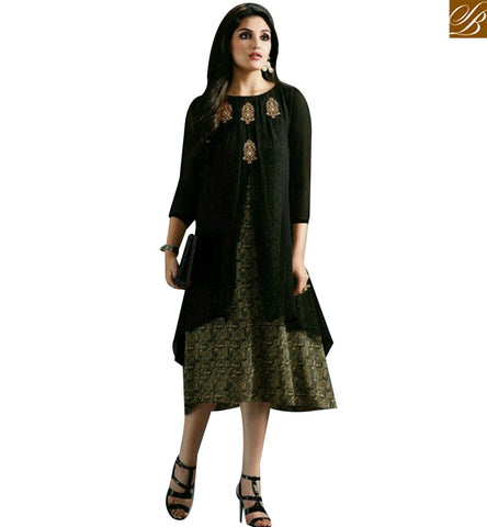 STYLISH BAZAAR GRACEFUL BLACK NET GEORGETTE DESIGNER KURTI WITH MODERN STYLE MNJ33363