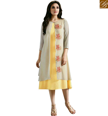 STYLISH BAZAAR CREAM AND YELLOW GEORGETTE CASUAL WEAR DESIGNER KURTI WITH JACKET STYLE MNJ33365