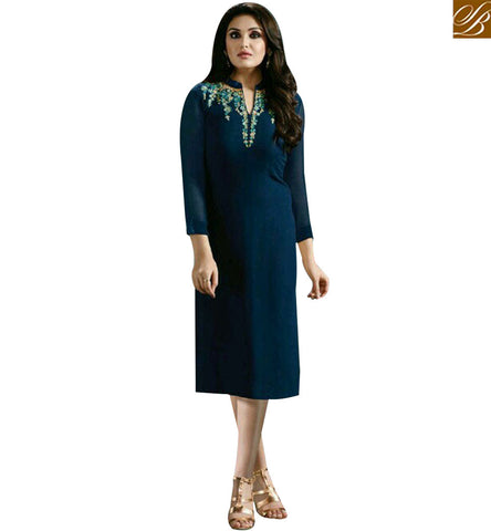 STYLISH BAZAAR PRECIOUS BLUE GEORGETTE CASUAL WEAR DESIGNER KURTI WITH HYNECK STYLE MNJ33367