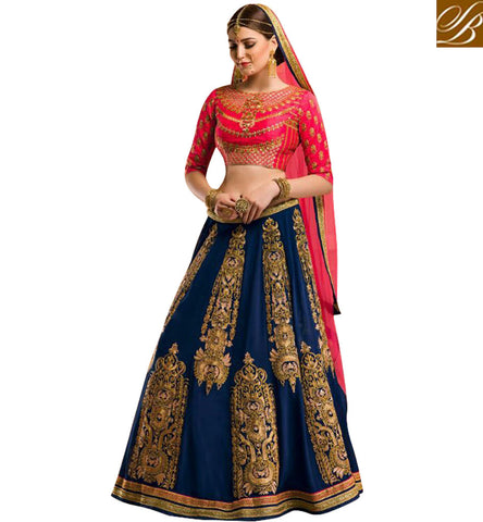 STYLISH BAZAAR BUY DESIGNER PINK AND BLUE COMBINATION LEHENGA CHOLI ONLINE FOR WOMEN TRADITIONAL WEDDING GHAGHRA COLLECTION GLZRL11