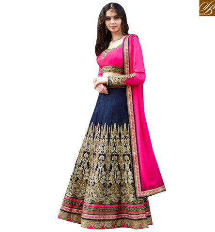 STYLISH BAZAAR STUNNING NAVY BLUE AND PINK BANGALORI SILK DESIGNER LEHENGA CHOLI WITH HEAVY EMBROIDERED GLZRL1